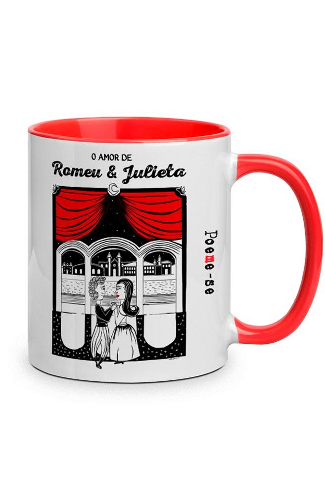 Caneca O Amor em Cordel: Romeu e Julieta com alça vermelha