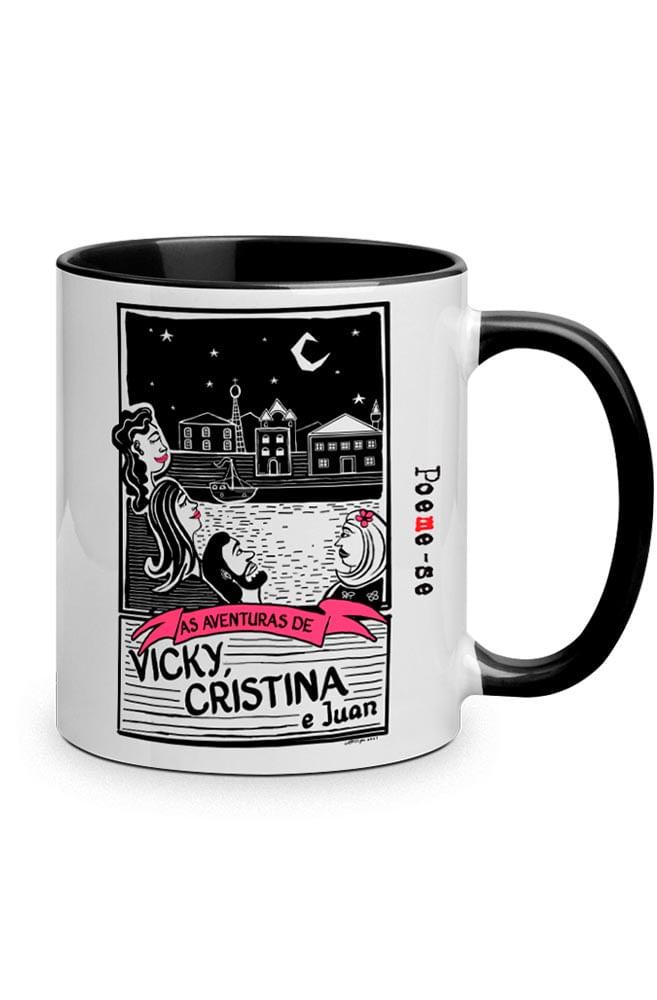 Caneca O Amor em Cordel: Vicky, Cristina e Juan com alça preto