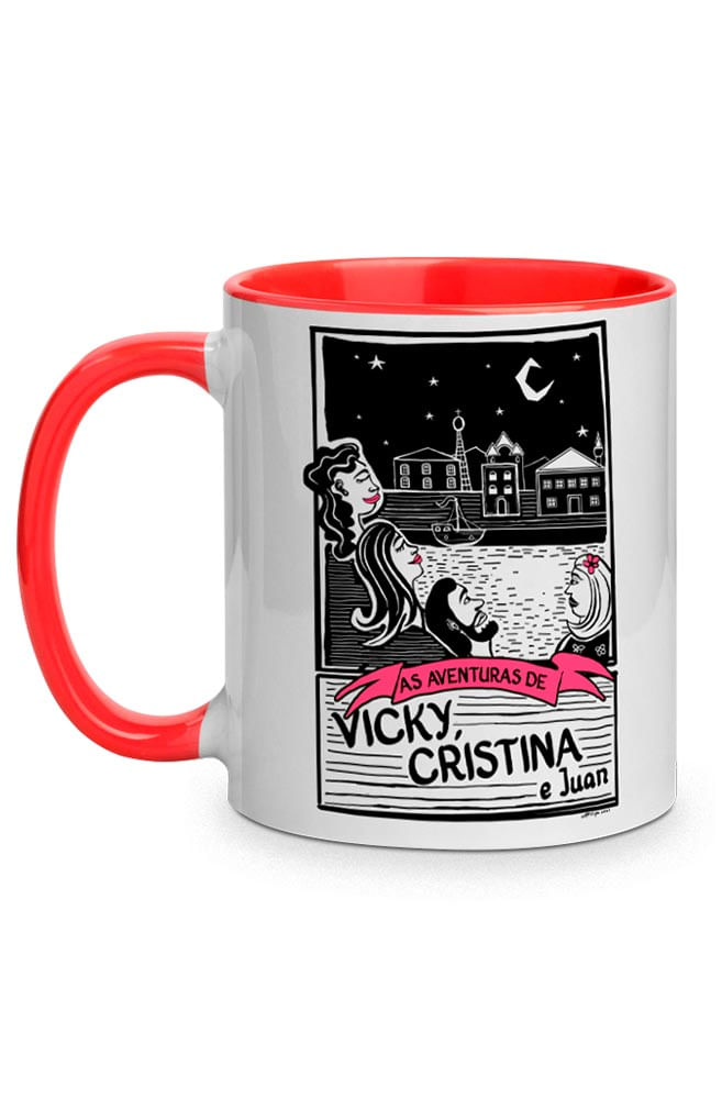 Caneca O Amor em Cordel: Vicky, Cristina e Juan com alça vermelha