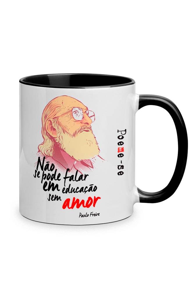 Caneca Paulo Freire com alça preta