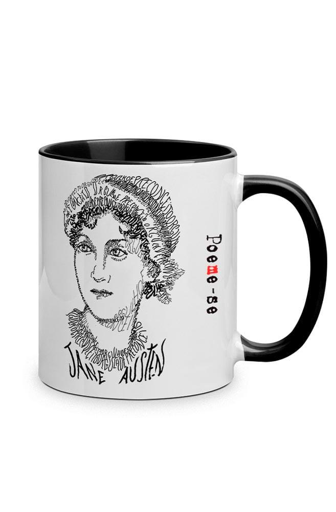Caneca Rostos Letrados: Jane Austen com alça preta