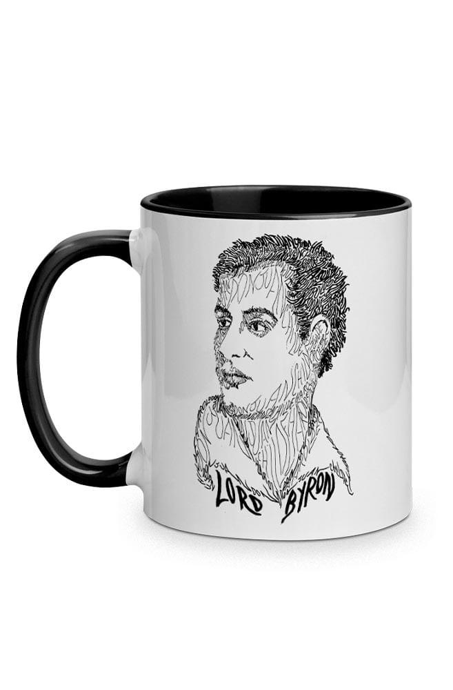Caneca Rostos Letrados: Lord Byron com alça preta