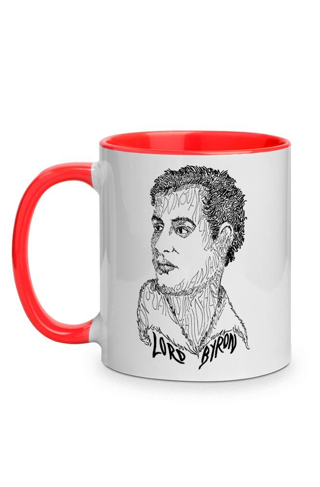 Caneca Rostos Letrados: Lord Byron com alça vermelha