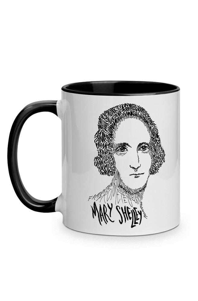 Caneca Rostos Letrados: Mary Shelley com alça preta