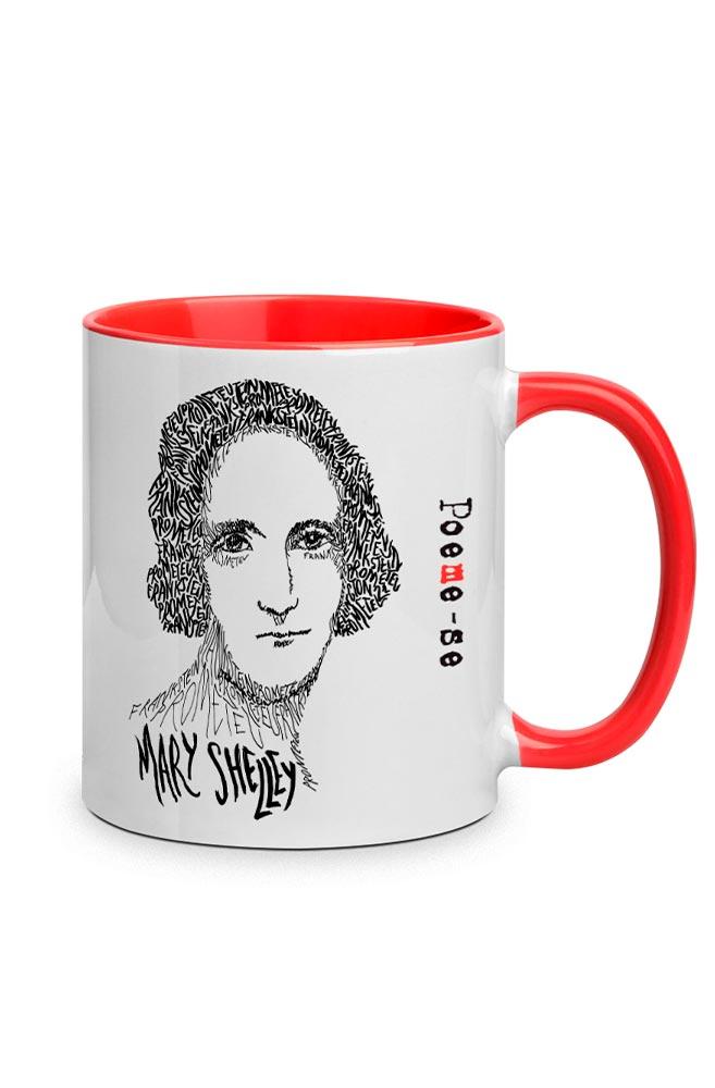 Caneca Rostos Letrados: Mary Shelley com alça vermelha