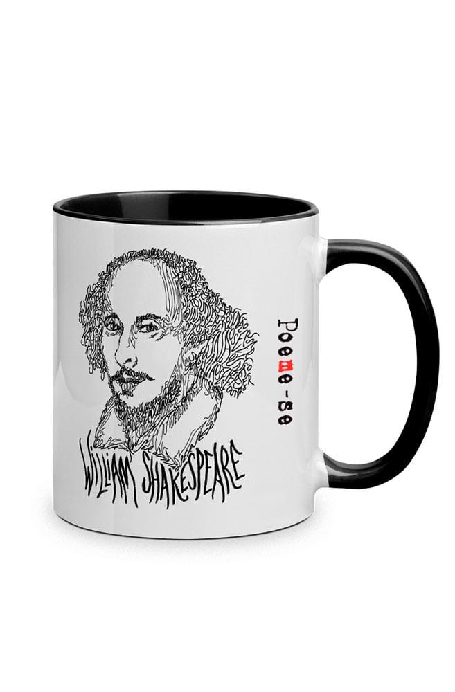 Caneca Rostos Letrados: William Shakespeare com alça preta