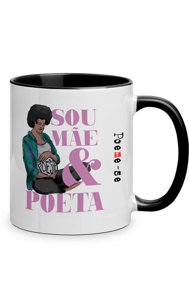 Caneca Ser mãe poeta com alça preta