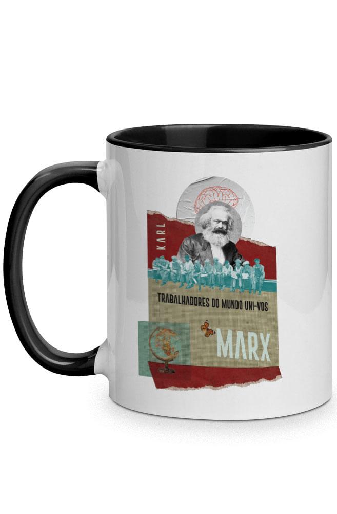 Caneca Trabalhadores do Mundo de Karl Marx com alça preta