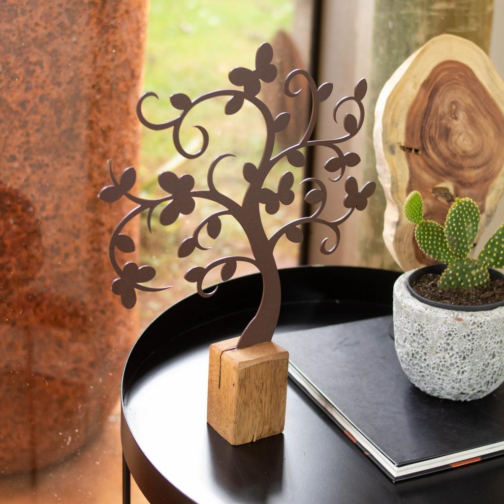 Escultura de Mesa Árvore Borboleta no Toco