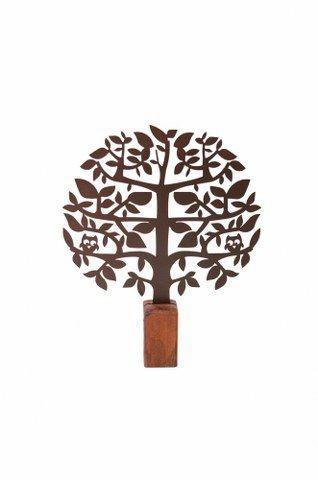 Escultura de Mesa Árvore Coruja no Toco