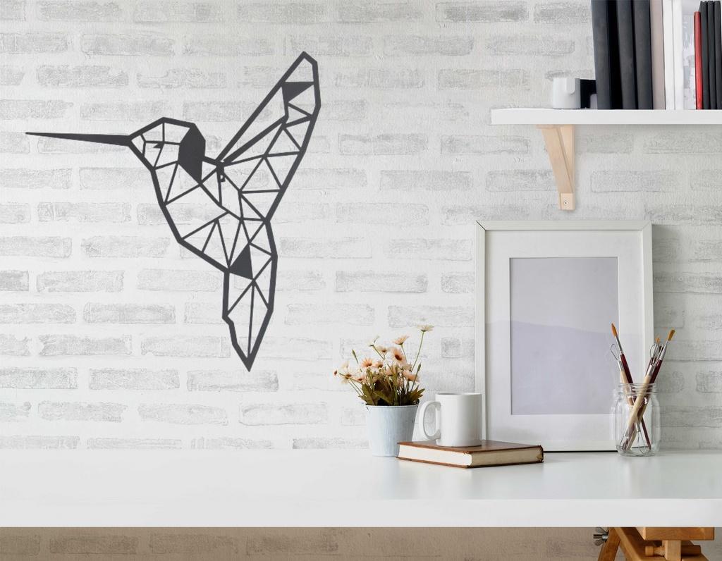 Escultura de Parede Origami Geométrico Beija Flor Aço Galvanizado