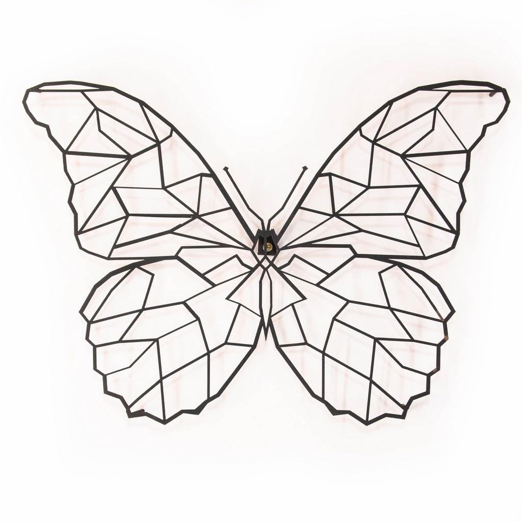 Escultura de Parede Origami Geométrico Borboleta Aço Galvanizado