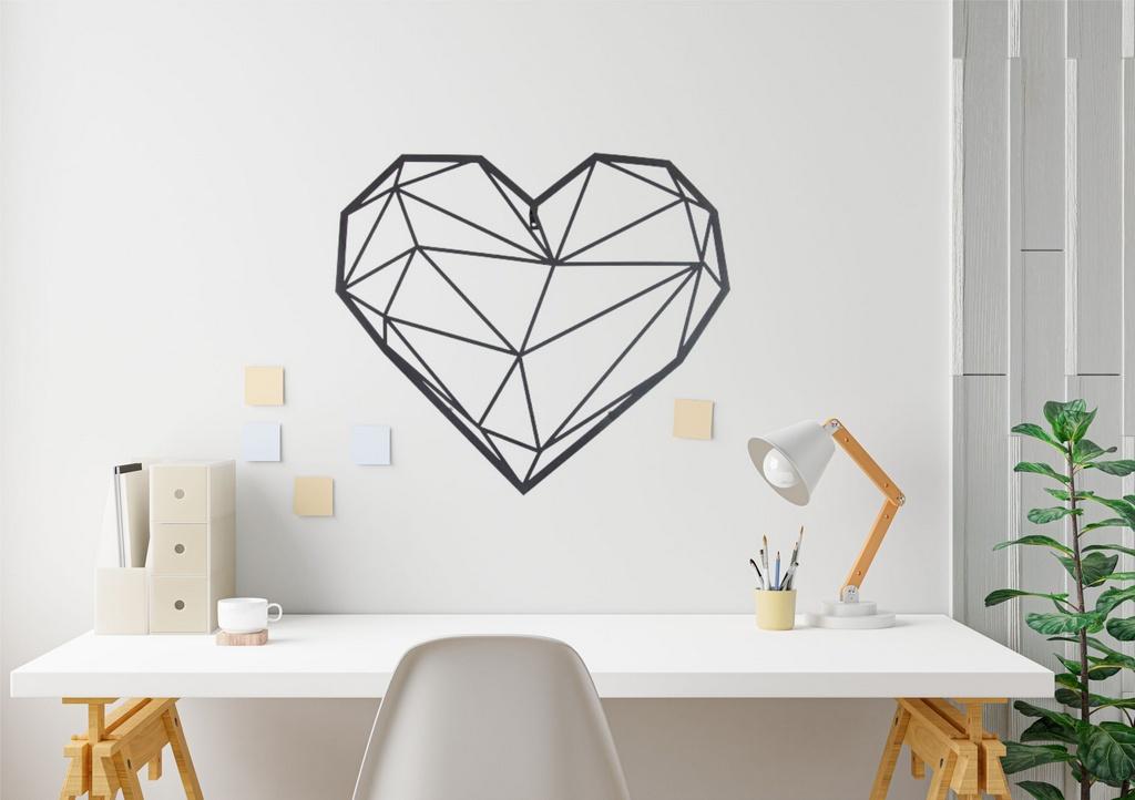 Escultura de Parede Origami Geométrico Coração Aço Galvanizado