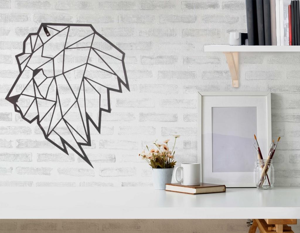 Escultura de Parede Origami Geométrico Leão Aço Galvanizado