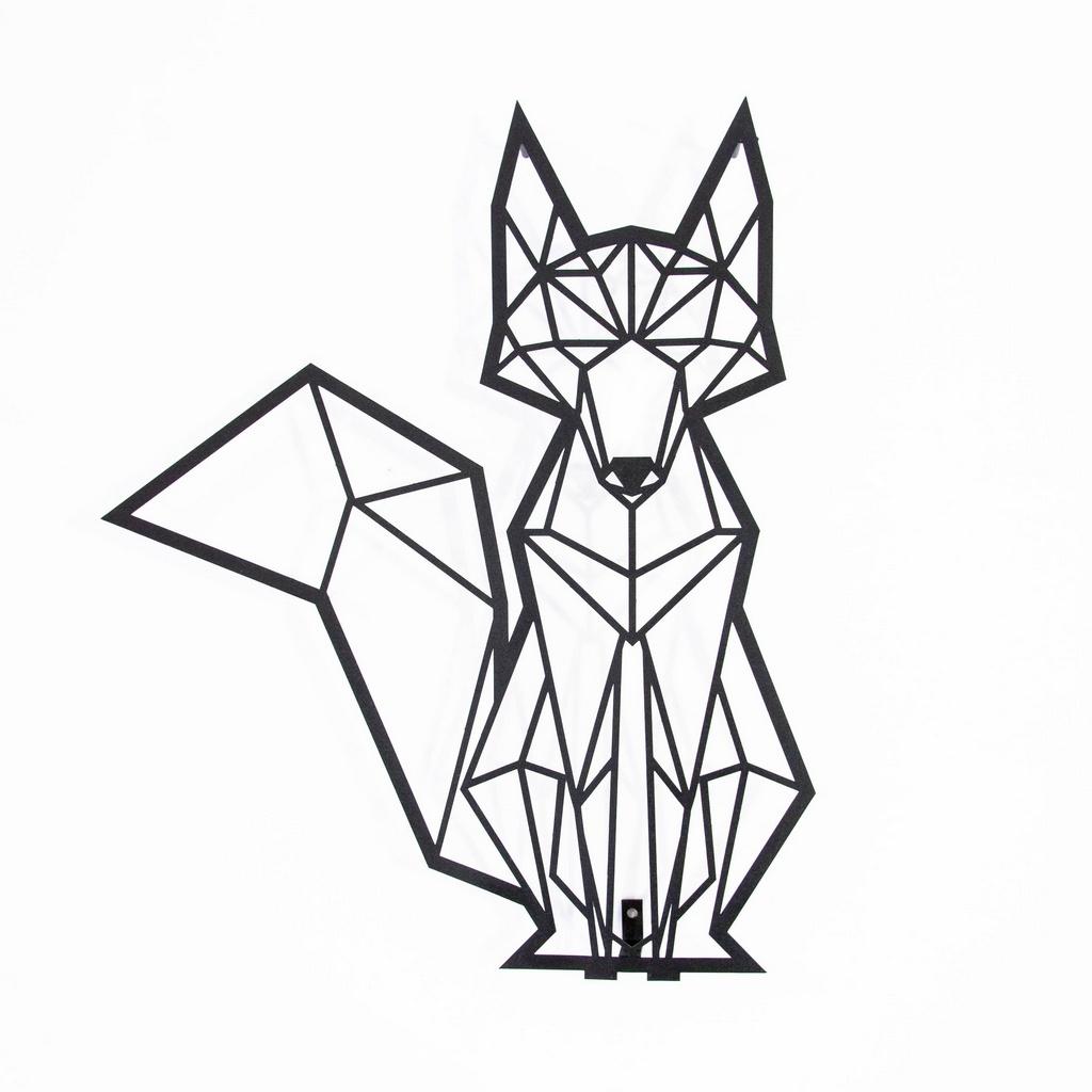 Escultura de Parede Origami Geométrico Raposa Aço Galvanizado