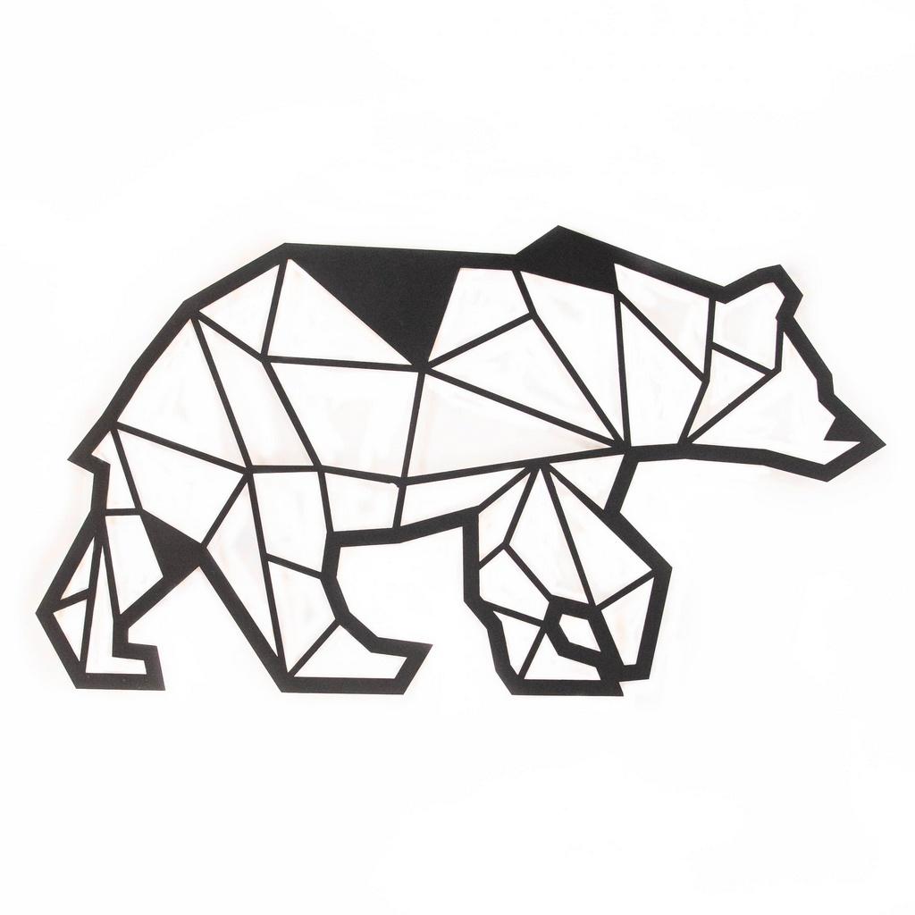 Escultura de Parede Origami Geométrico Urso Aço Galvanizado