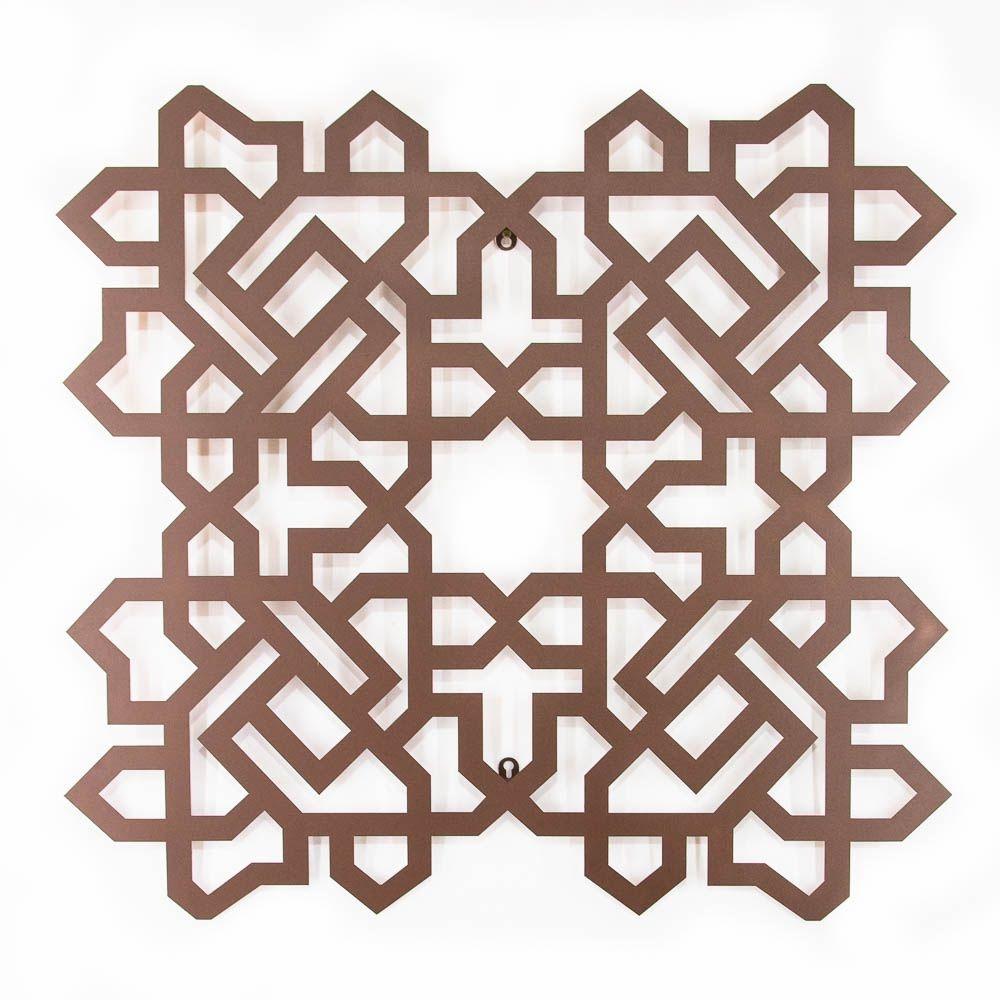 Escultura de Parede Quadrado Árabe Marrom