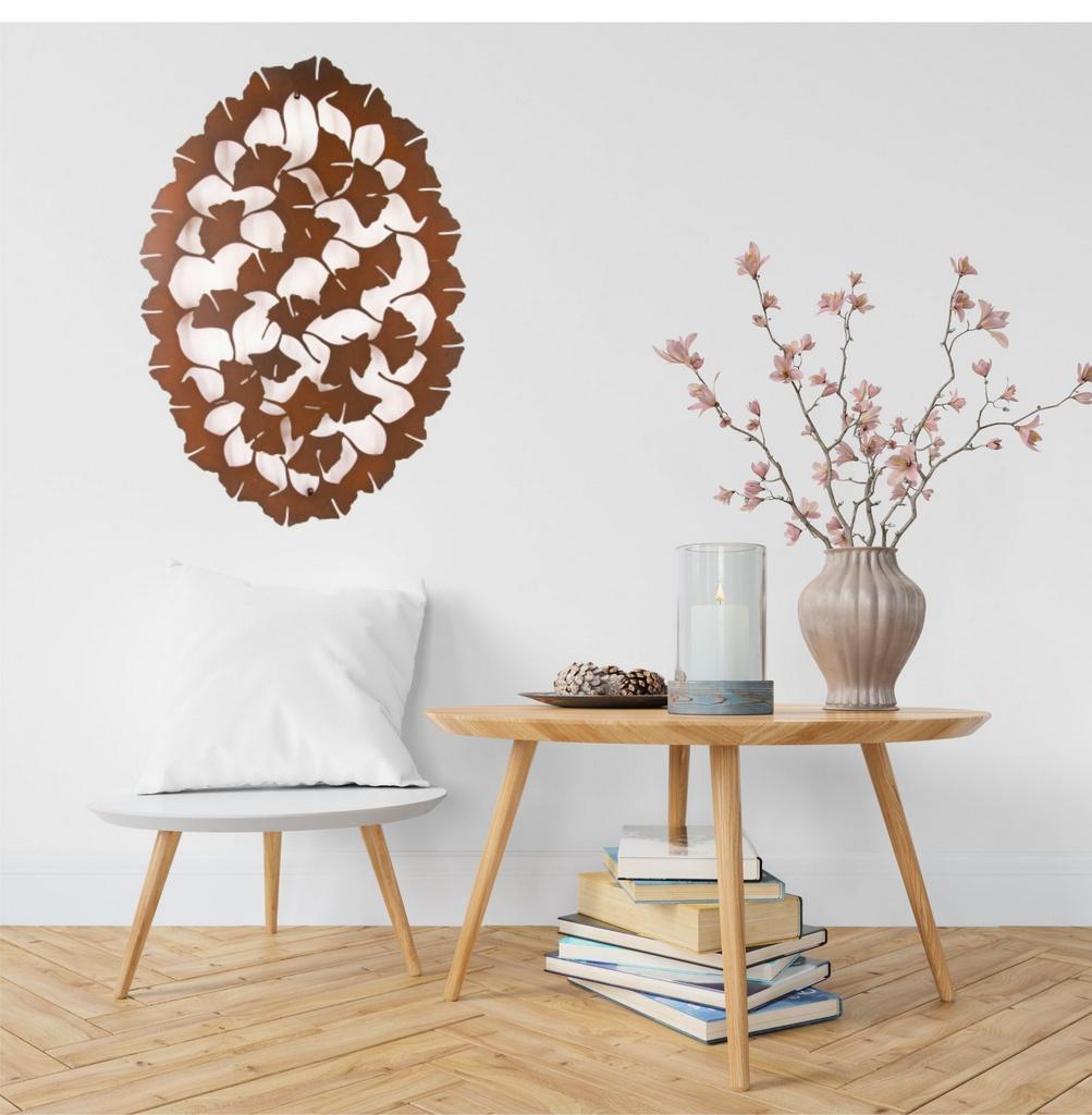 Mandala Oval Flores Aço Galvanizado 54x80cm