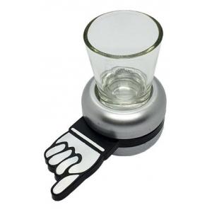 Jogo de shot vira vira com copo de vidro e base giratória