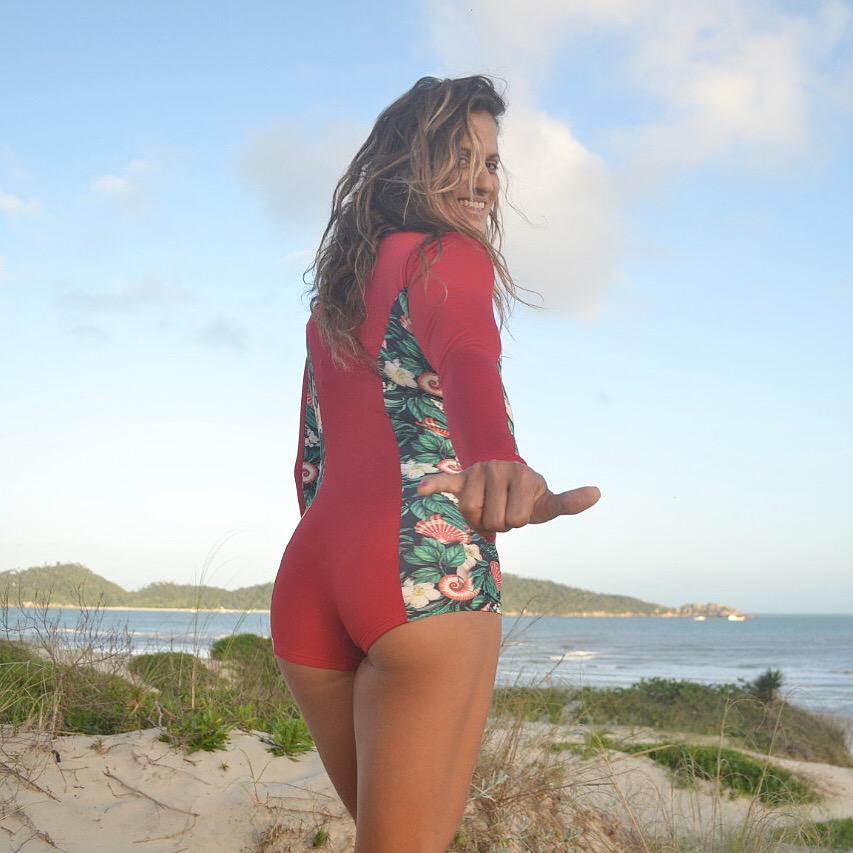 MAIÔ SURF ZÍPER MANGA LONGA ITAÚNA - Vermelho e Concha