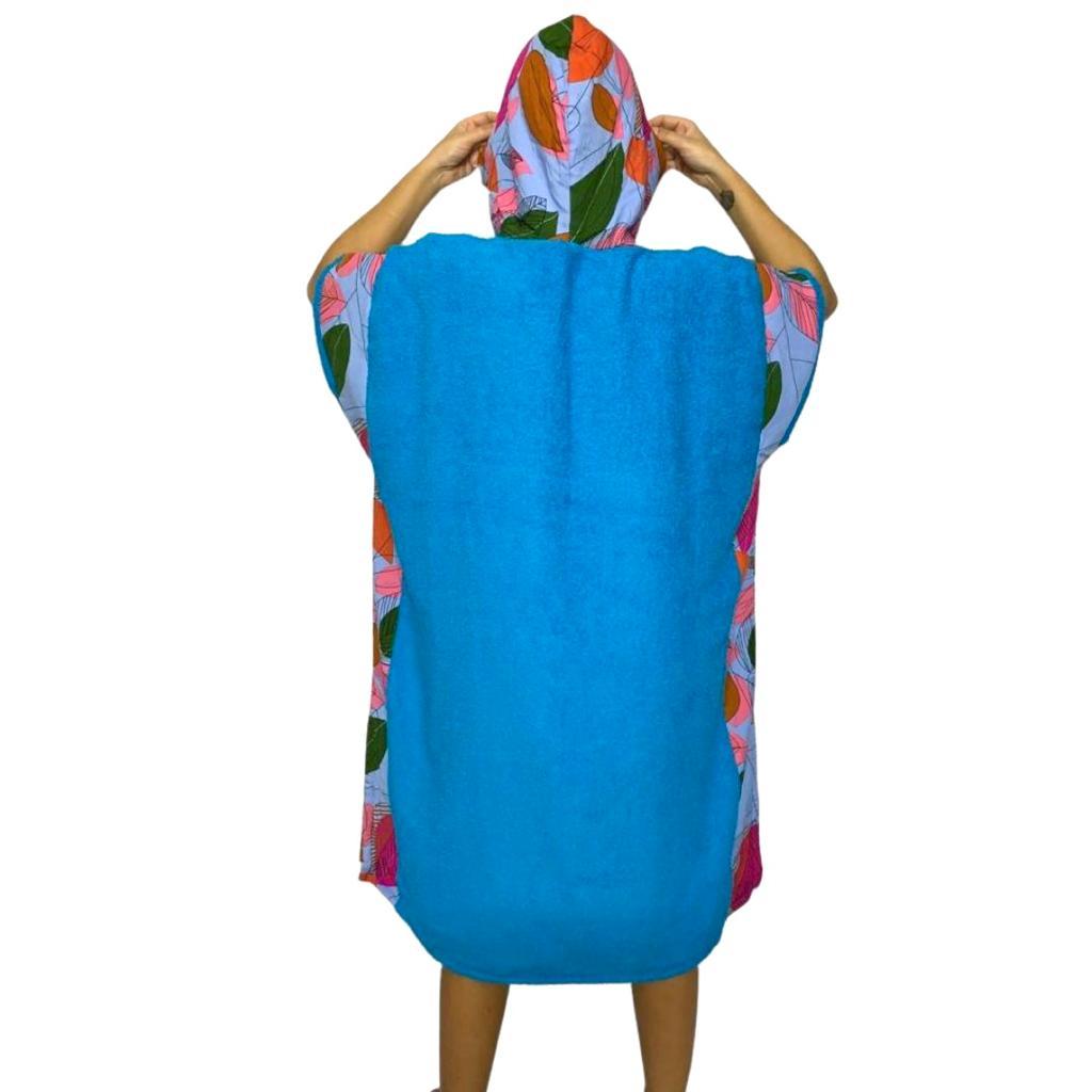 PONCHO TOALHA SURF CARDOSO - Azul e Folha