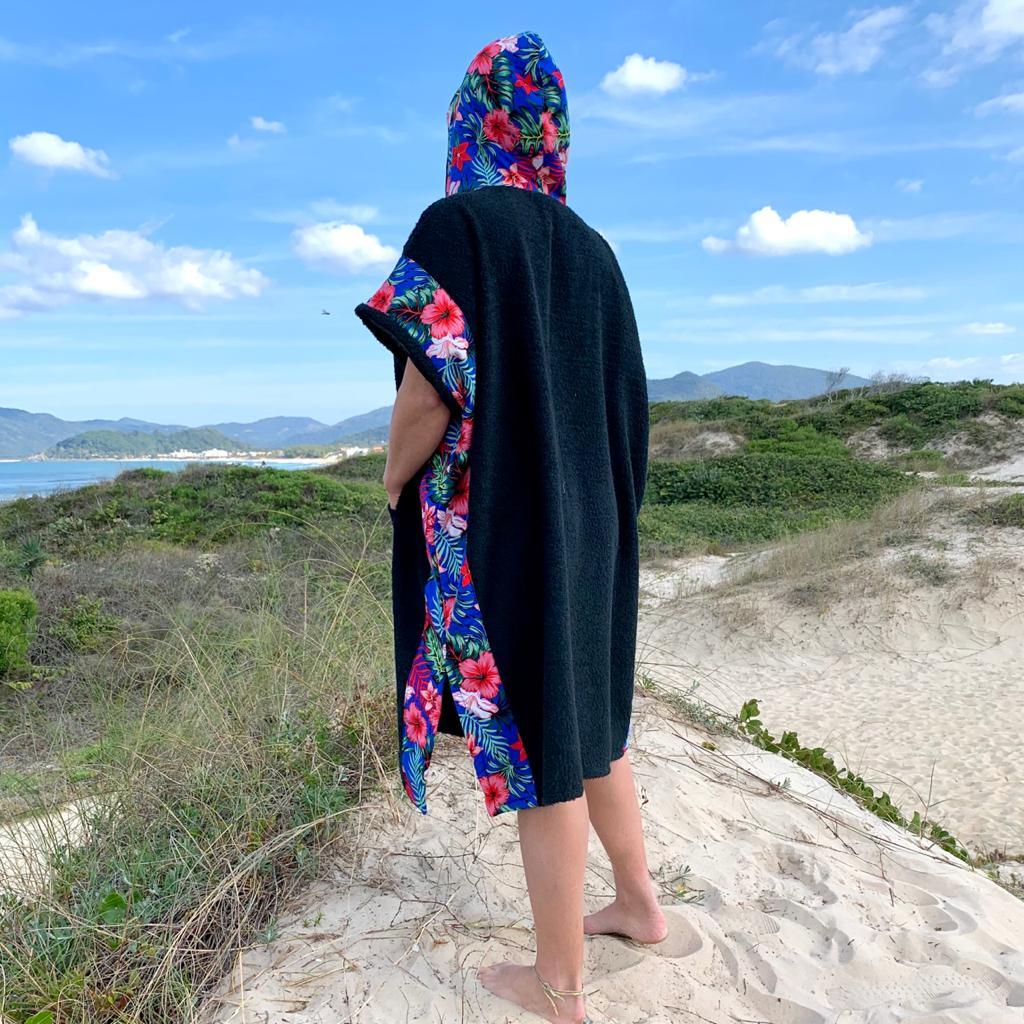 PONCHO TOALHA SURF CARDOSO - Preto e Hibisco
