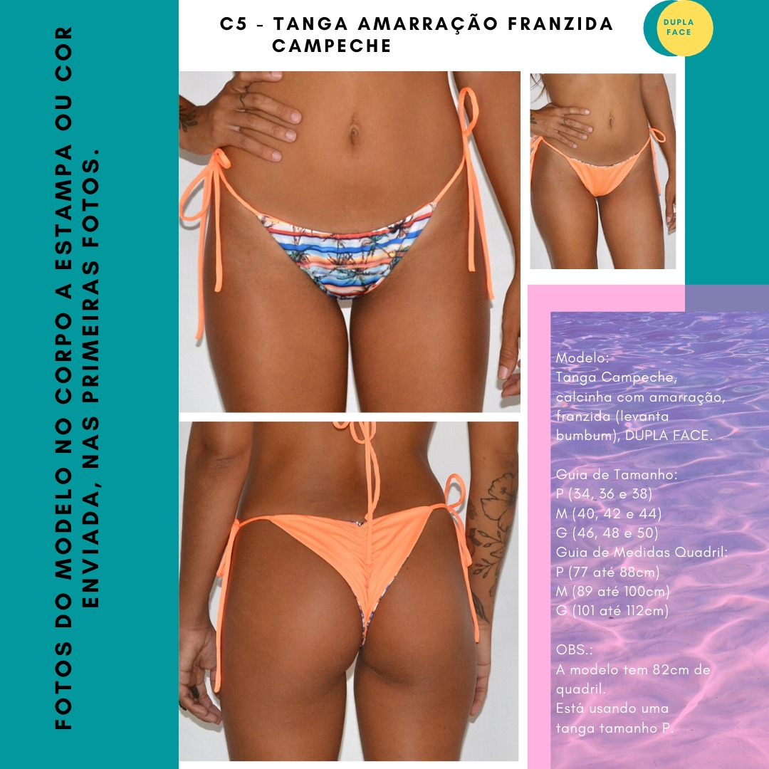 TANGA AMARRAÇÃO FRANZIDA CAMPECHE - Sand Glow e Conchas