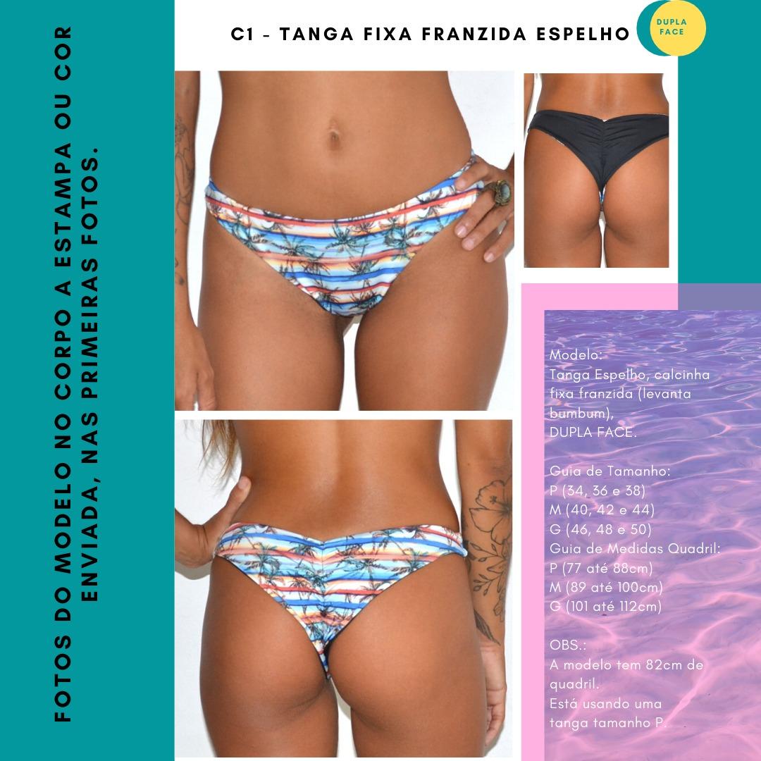 TANGA FIXA FRANZIDA ESPELHO - Preto e Concha