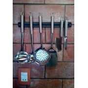Kit 6 Utensílios Inox + Barra Magnética