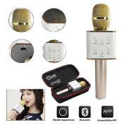 Karaokê Portátil Bluetooth Microfone Bateria para Celular Gravador