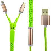Cabo Carregador Duplo Zíper USB para iPhone Samsung Android