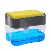 Dispenser de Detergente Para Cozinha Esponja Limpeza Louça Dosador