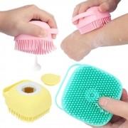 Esponja de Silicone Para Banho Massageador Dispenser Shampoo