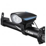 Farol LED com Buzina para Bicicleta Recarregável USB