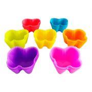 Kit com 6 Formas Silicone Borboleta Cupcake Muffins Queijadinha