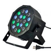 Iluminador de Palco Projetor Dj Flat Par Light 18 Leds Rgb Dmx Sound para Festa