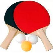 Kit 2 Raquetes para Ping Pong 3 Bolinhas