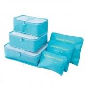 Kit 6 Sacos Bolsas Organizador Mala Roupas Bagagem Viagem Azul Claro
