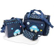 Kit Bolsa Maternidade Trocador Mochila Mamadeira Bebê 4 em 1 Azul