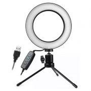 Kit com Iluminador LED Ring 16 cm Tripé de Iluminação Foto Video