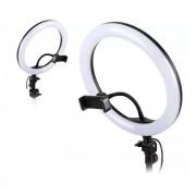 Kit Iluminador LED Ring 3 Cores 26 cm Tripé Iluminação Foto Video Suporte Telefone Móvel