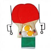Kit Ping Pong Raquetes Bolinhas Rede Suporte