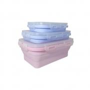 Kit Pote Marmita Retrátil Silicone Três Tamanhos Azul