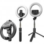 Ring Light Suporte Tripé Controle Bluetooth Selfie Stick Led