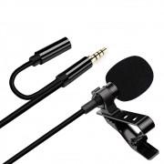 Microfone de Lapela com Clipe Profissional 3.5 Aux GL-142 Entrada Fone de Ouvido