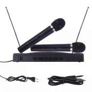 Microfone Sem Fio 2 FM Receptor Palestra Escola Igreja 110V
