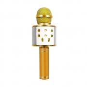 Microfone Sem Fio Bluetooth Karaokê WS 858 Gravador Com Som Dourado