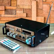 Mini Amplificador com Bluetooth - Karaokê Stereo Áudio Mp3 / USB / SD / FM Digital Player