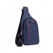 Mini Bolsa Mochila Transversal Fashion Instinct Alça Única Unissex Cadernos Tablet Celular Vários Bolsos Azul