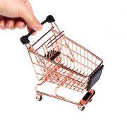 Mini Carrinho de Supermercado Compras Metal Porta Treco Decoração Casa Cozinha Quarto